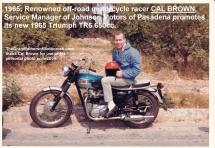 2015 5-0 pg 6c 1965 Cal Brown Service Mgr. of Johnson Motors on new Triumph