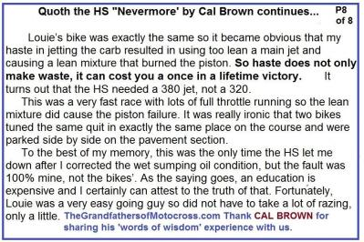 Hare Scrambles 1957 CB8 Words of wisdom, Nevermore by Cal Brown