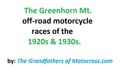 1920s & 1930s Greenhorn motorcycle race