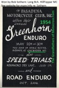 1954 PMC ad 1954 2 day Greenhorn Enduro, Greenhorn Mt. & other events