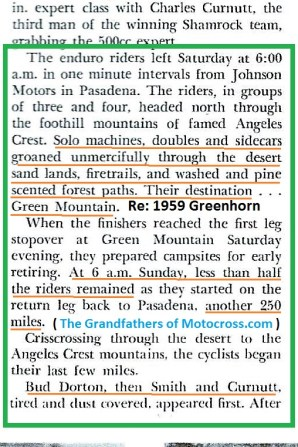 1959 Greenhorn a8 Mt. day 1 ends, less than half riders remain