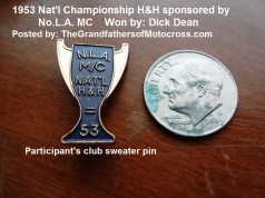 1953 12-b participants club sweater PIN for Nat'l Championship H&H