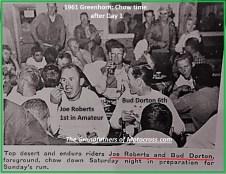1961 Greenhorn 24 Joe Roberts, Bud Dorton & others eat dinner end of Day 1