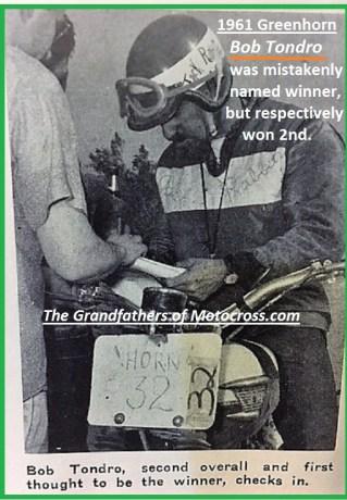 1961 Greenhorn 25 Bob Tondro, mistakenly announced as winner