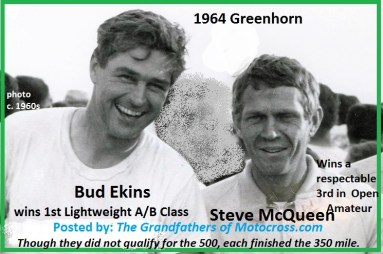 1964 Greenhorn z9 pals Bud Ekins & actor Steve McQueen