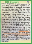 1969 Greenhorn P10 preparing bikes for enduro
