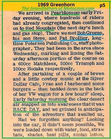 1969 Greenhorn b5 Bob Greene, son STEVE, Pat Brollier readied course