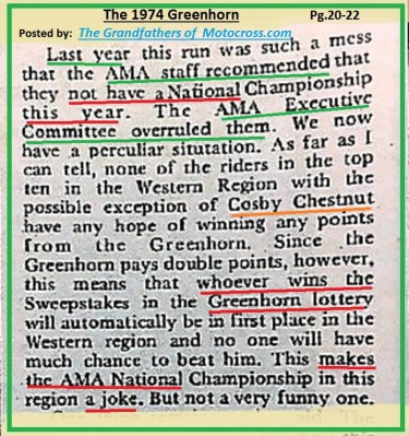 1974 B39 AMA staff said no National but overruled. author said GH is LOTTERY, COSBY CHESTNUT