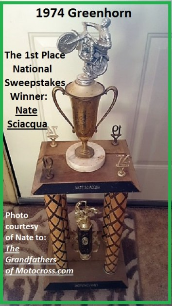 1974 a10 close up Nate SciacquaGreenhorn Sweepstakes winner trophy
