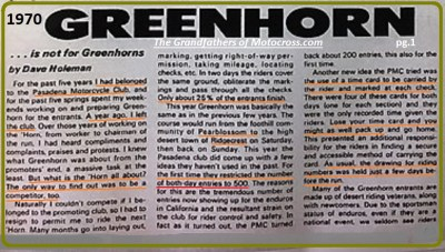 1970 Greenhorn b3 Pearblossum start, only 1 in 4 finish, limit 500 riders