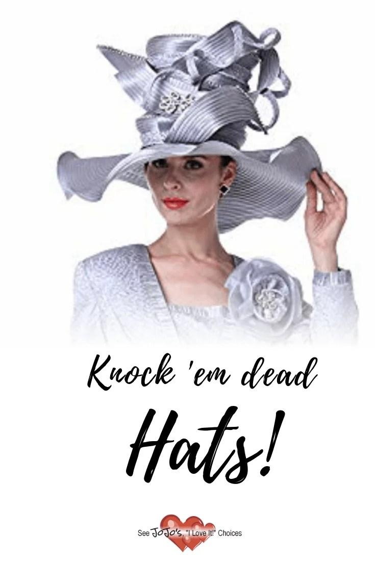 lady wearing huge silver hat