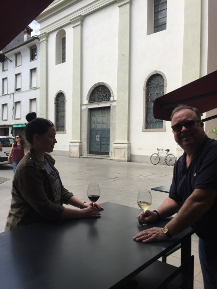 Almost four years to the day, I was finally in Udine with my daughter, Katie. One of the first things we did was find where Don and Joe had stood to take our own family shot. We were disappointed to see new tables and a different placement. Still, a fair homage.