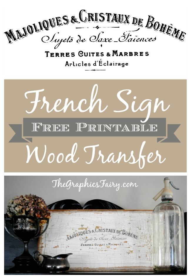 French Sign Transfer Onto Wood Printable The