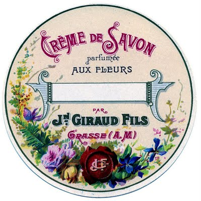 Vintage Graphic Image Round French Soap Label The
