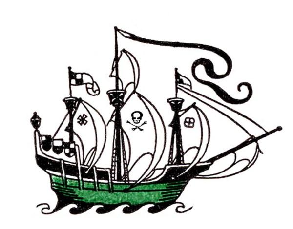 vintage clip art - pirate ship