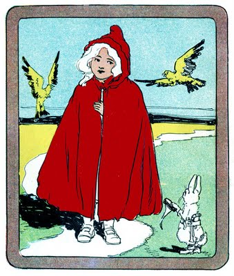 Vintage Clip Art Classic Little Red Riding Hood The