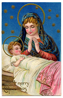 Antique Christmas Graphic Gorgeous Baby Jesus With Mary