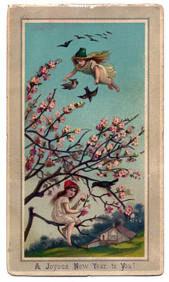 Victorian New Year Graphic Fairy Girls With Cherry