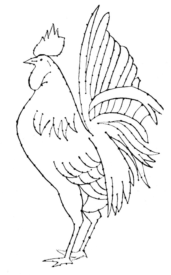 Embroidery Pattern Rooster Line Art The Graphics Fairy