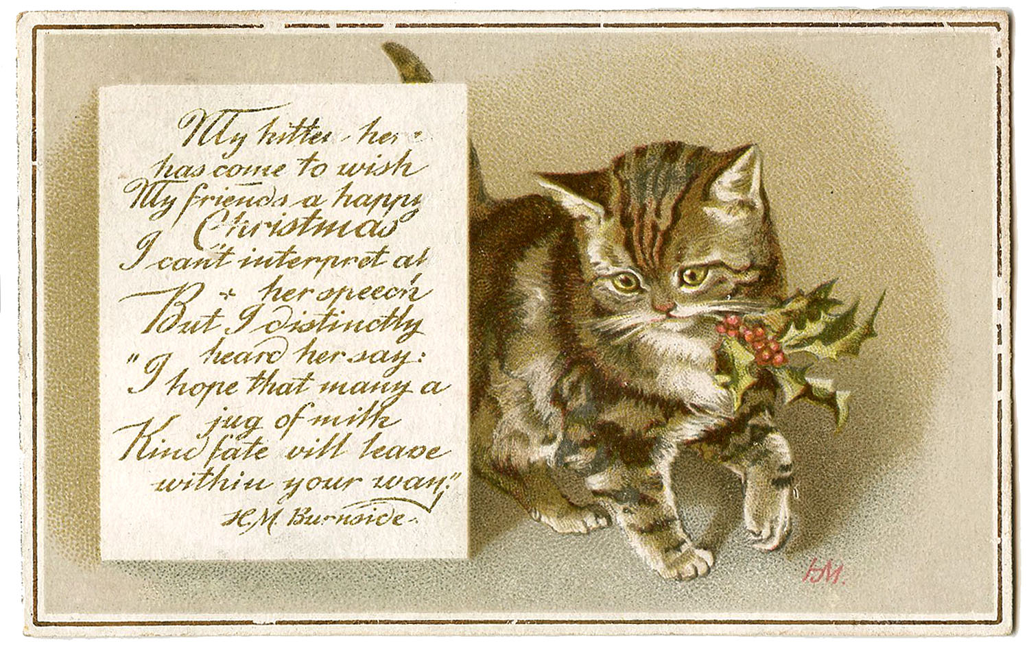 Vintage Christmas Image Kitty With Holly Gift Tags