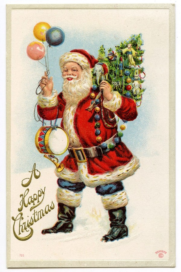Vintage Graphic - Classic Santa With Balloons