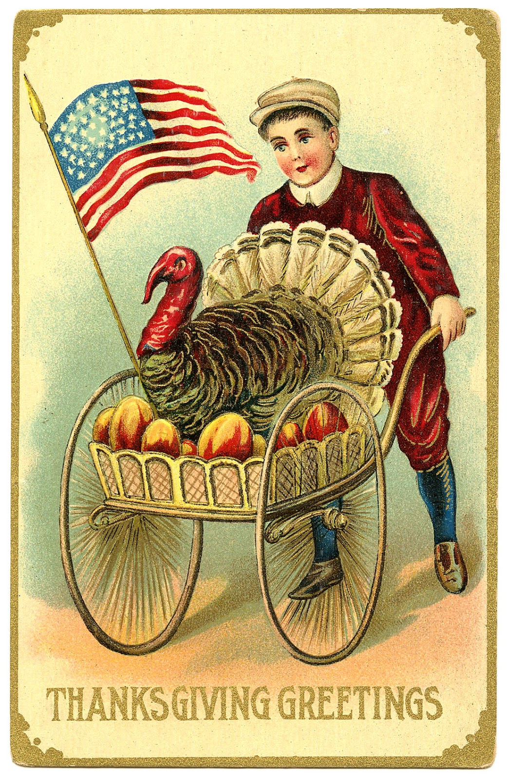Cute Cartoon Fruit Wallpaper Vintage Thanksgiving Image Boy With Patriotic Turkey