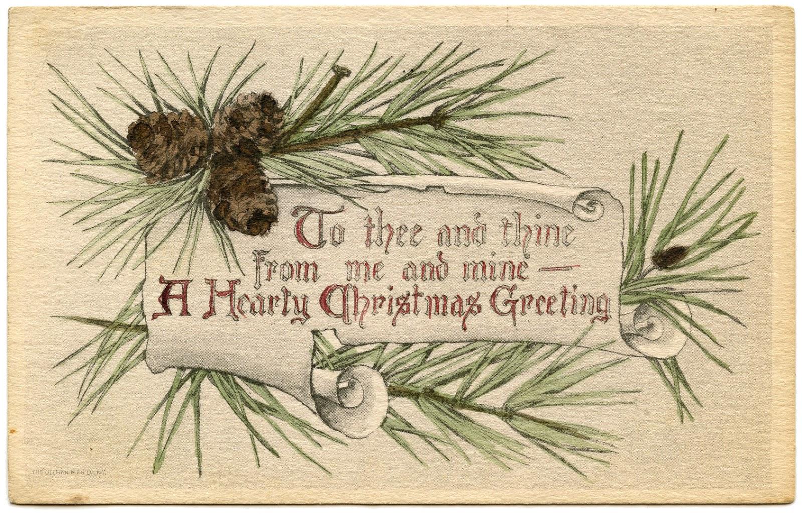 Vintage Christmas Graphics Pine Branch Frame The