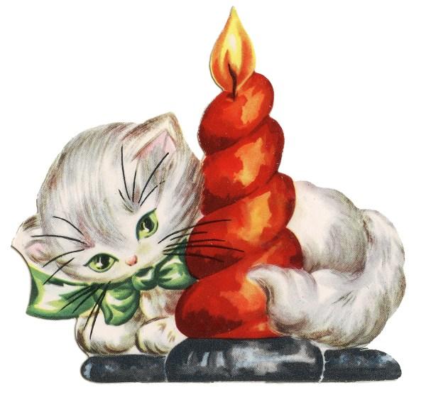 retro christmas clip art - kitten