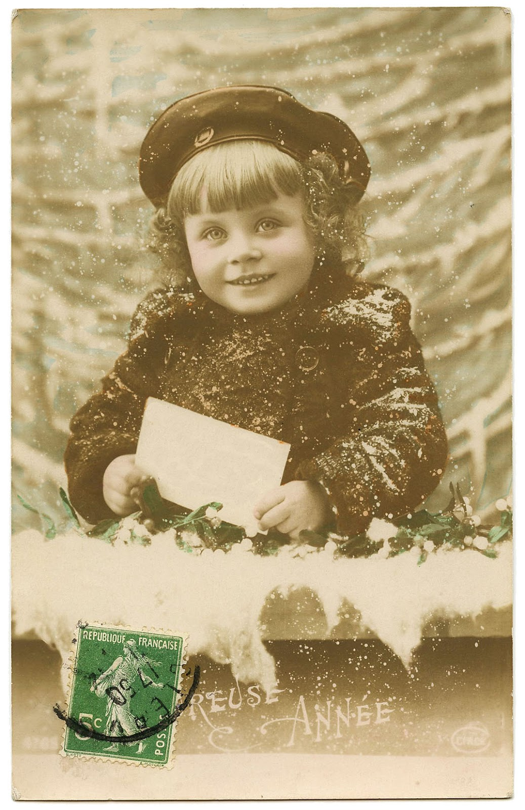 Old French Photo Sweet Snowy Girl The Graphics Fairy