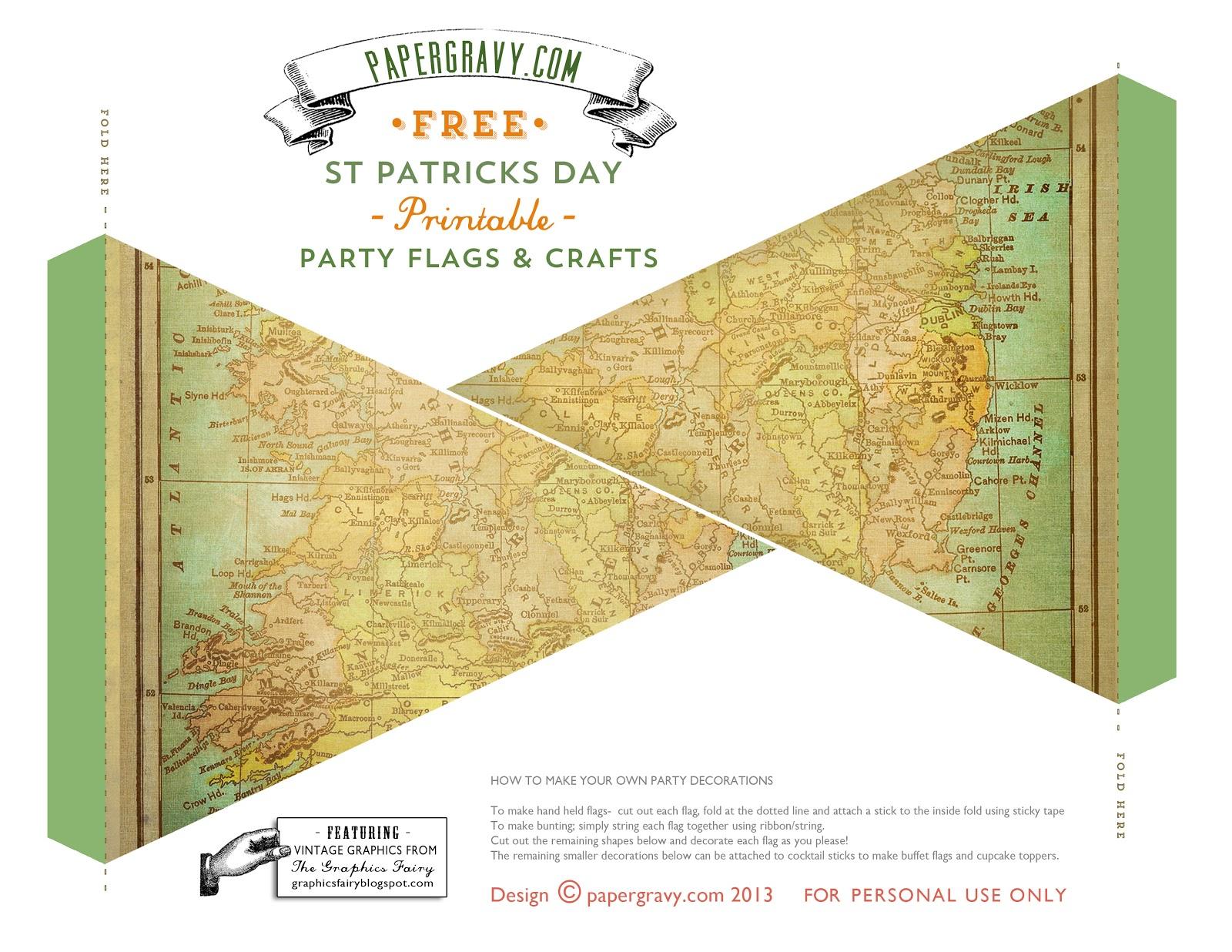 Vintage Printables St Patricks Day Flags Buntings