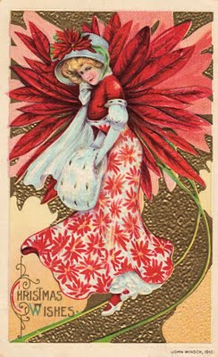 Free Victorian Clip Art Christmas Girl With Pointsettia