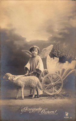 Free Vintage Clip Art Easter Angel With Lamb The
