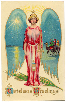 Vintage Christmas Image Starry Winged Angel The