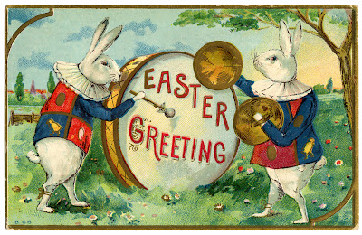 Easter Image Fancy Rabbits With Drum The Graphics Fairy