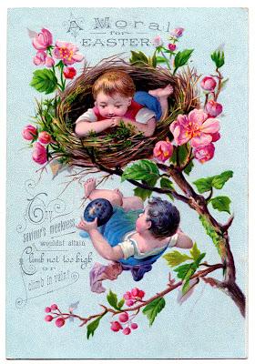 Vintage Easter Clip Art Children In Nest The Graphics