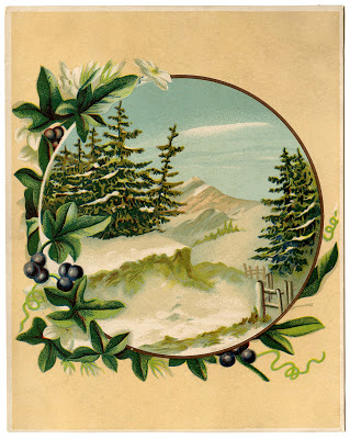 Antique Graphic Winter Mountain Scene The Graphics Fairy