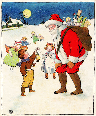 Vintage Christmas Clip Art Santa With Children The