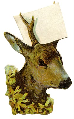 Vintage Christmas Clip Art Deer Head With Sign Place