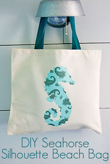 DIY Seahorse Silhouette Beach Bag The Graphics Fairy