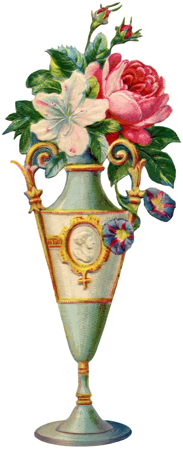 Vintage Vase with Flowers Clip Art