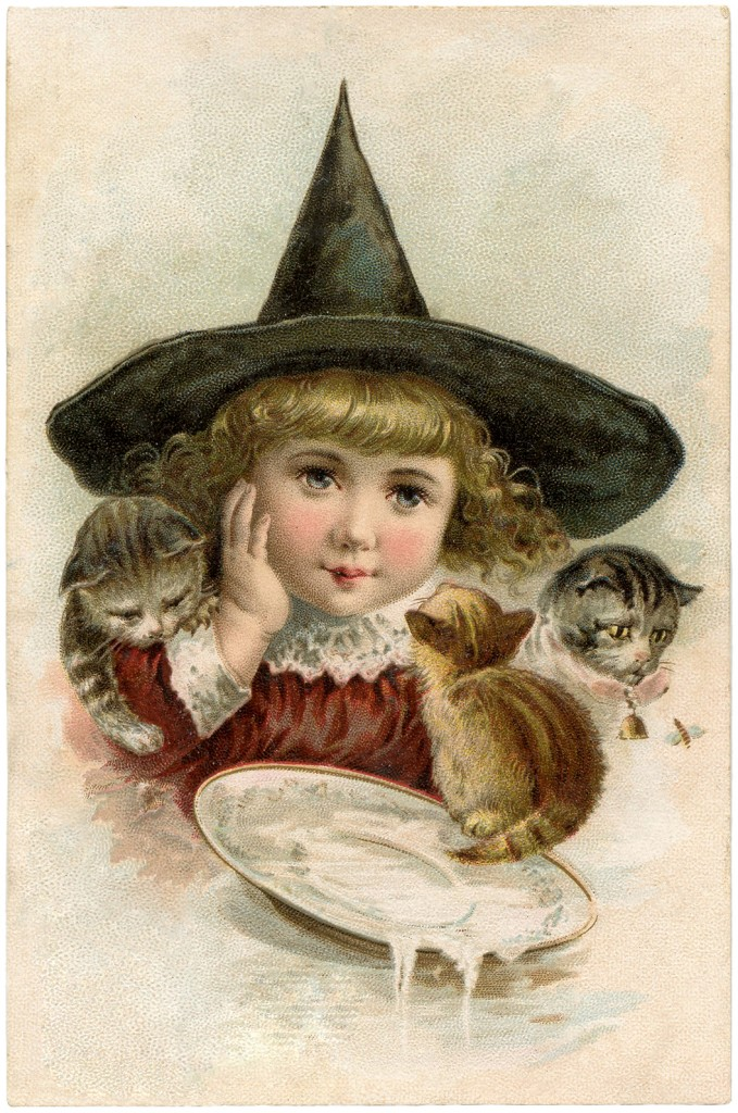 Vintage Halloween Clip Art Precious Little Witch The
