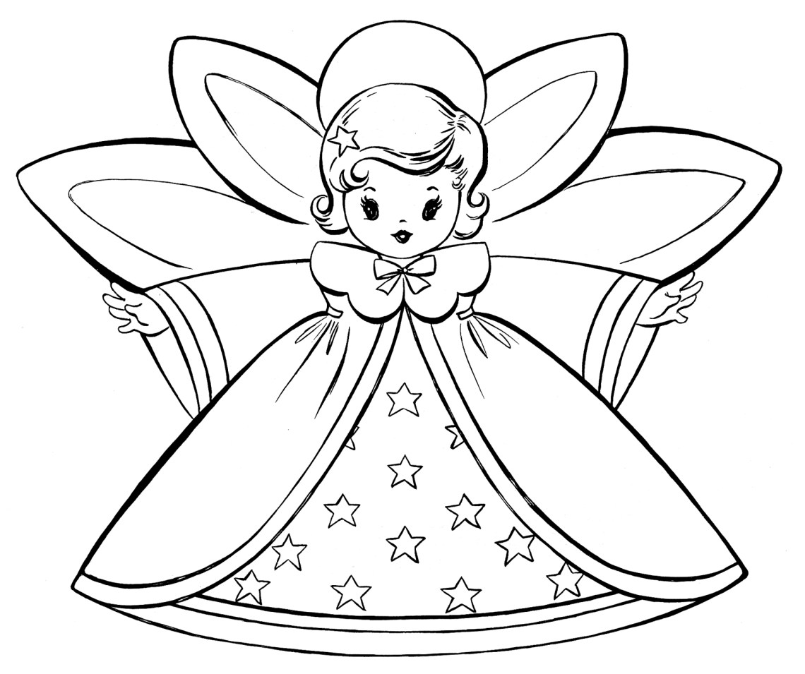 Free Christmas Coloring Pages - Retro Angels - The ... | christmas coloring pages  free