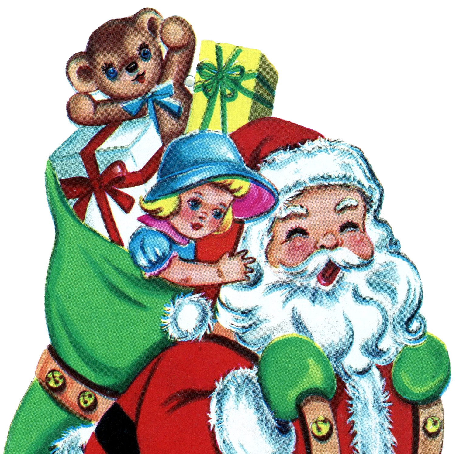 Free Christmas Picture Retro Santa With Toys The