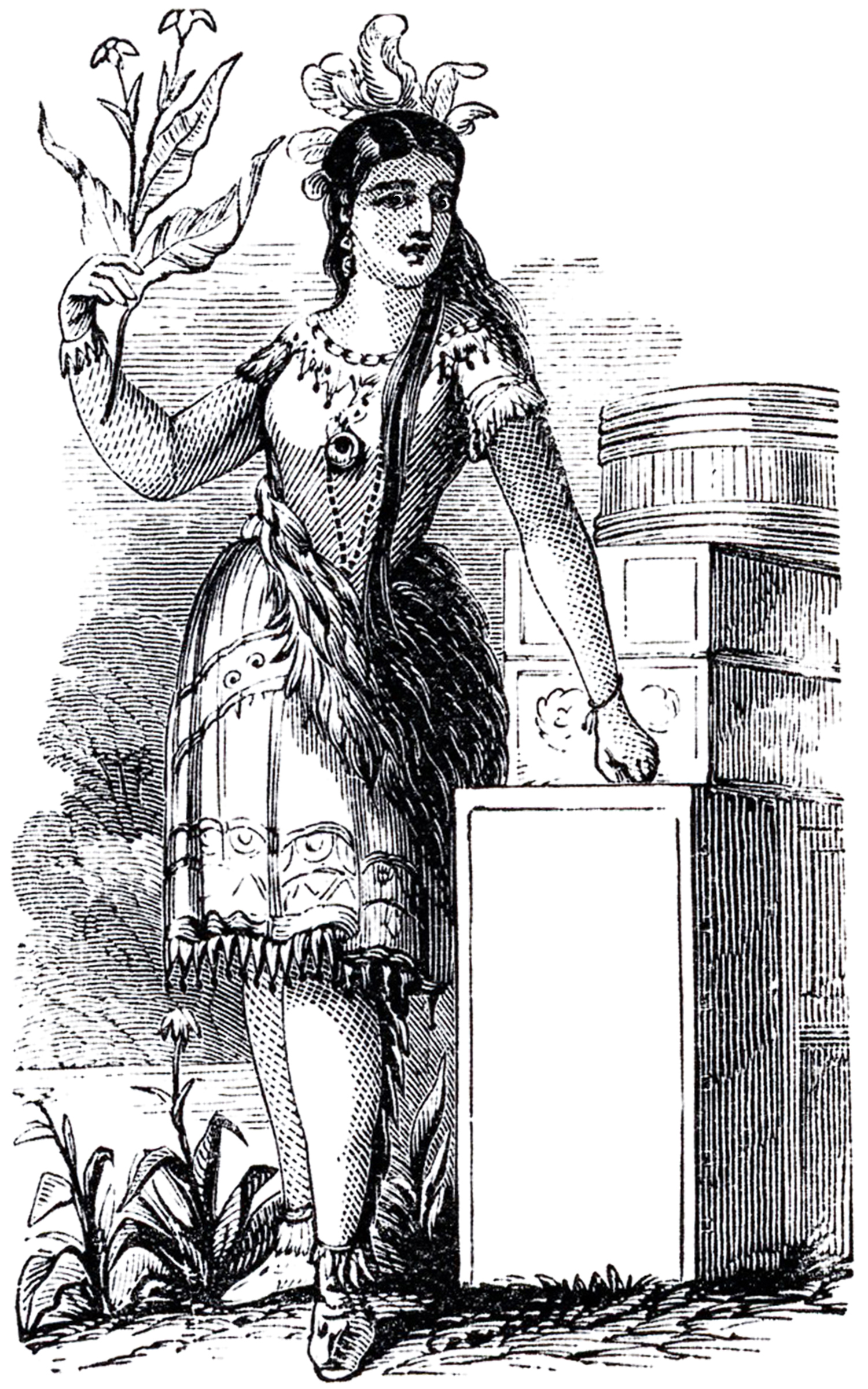 Native American Lady Image Old Advertising The