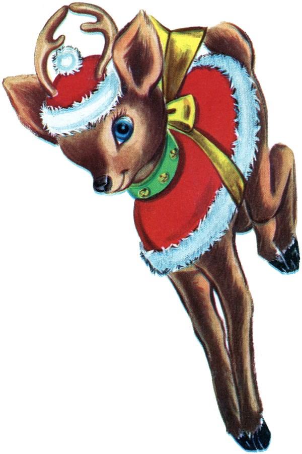 Retro Christmas Reindeer - Graphics Fairy