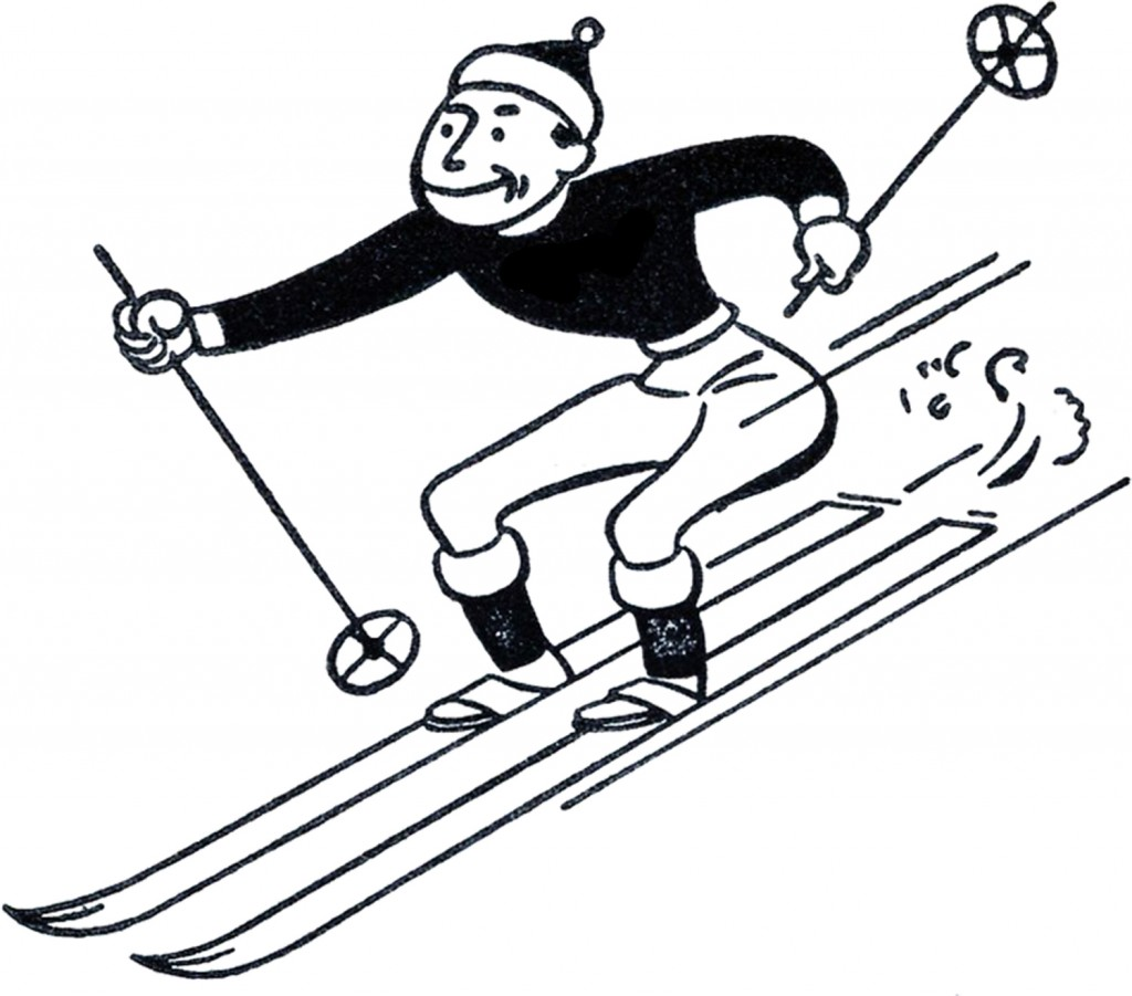 Funny Retro Skiing Clipart