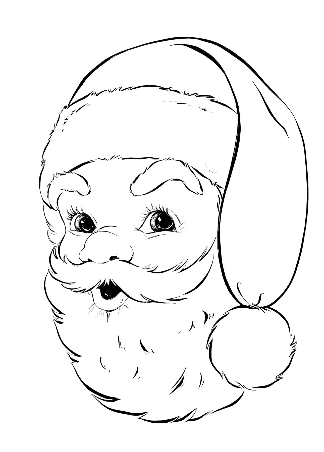 Retro Santa Coloring Page The Graphics Fairy