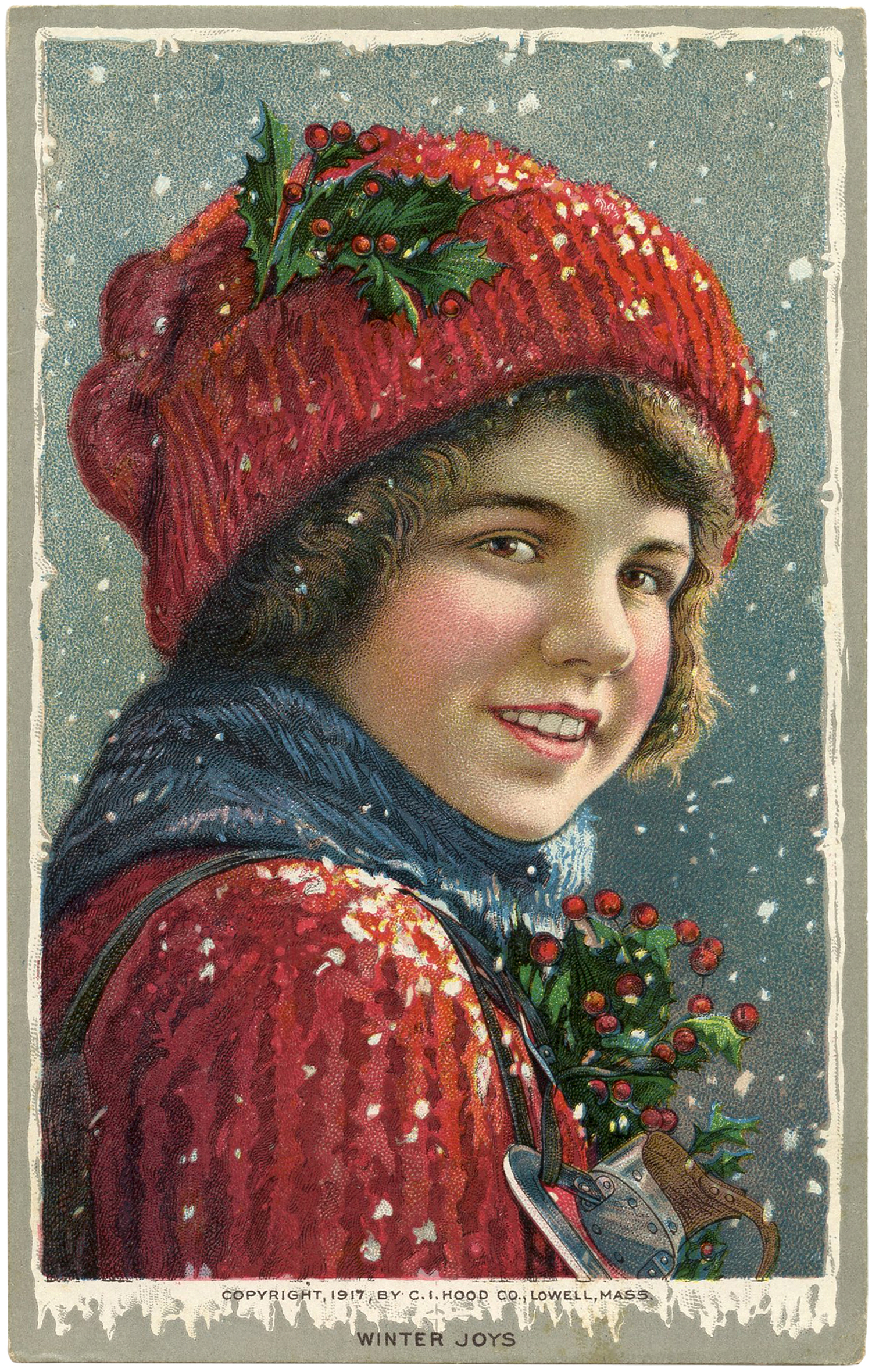 Vintage Christmas Image Boy In Snow The Graphics Fairy
