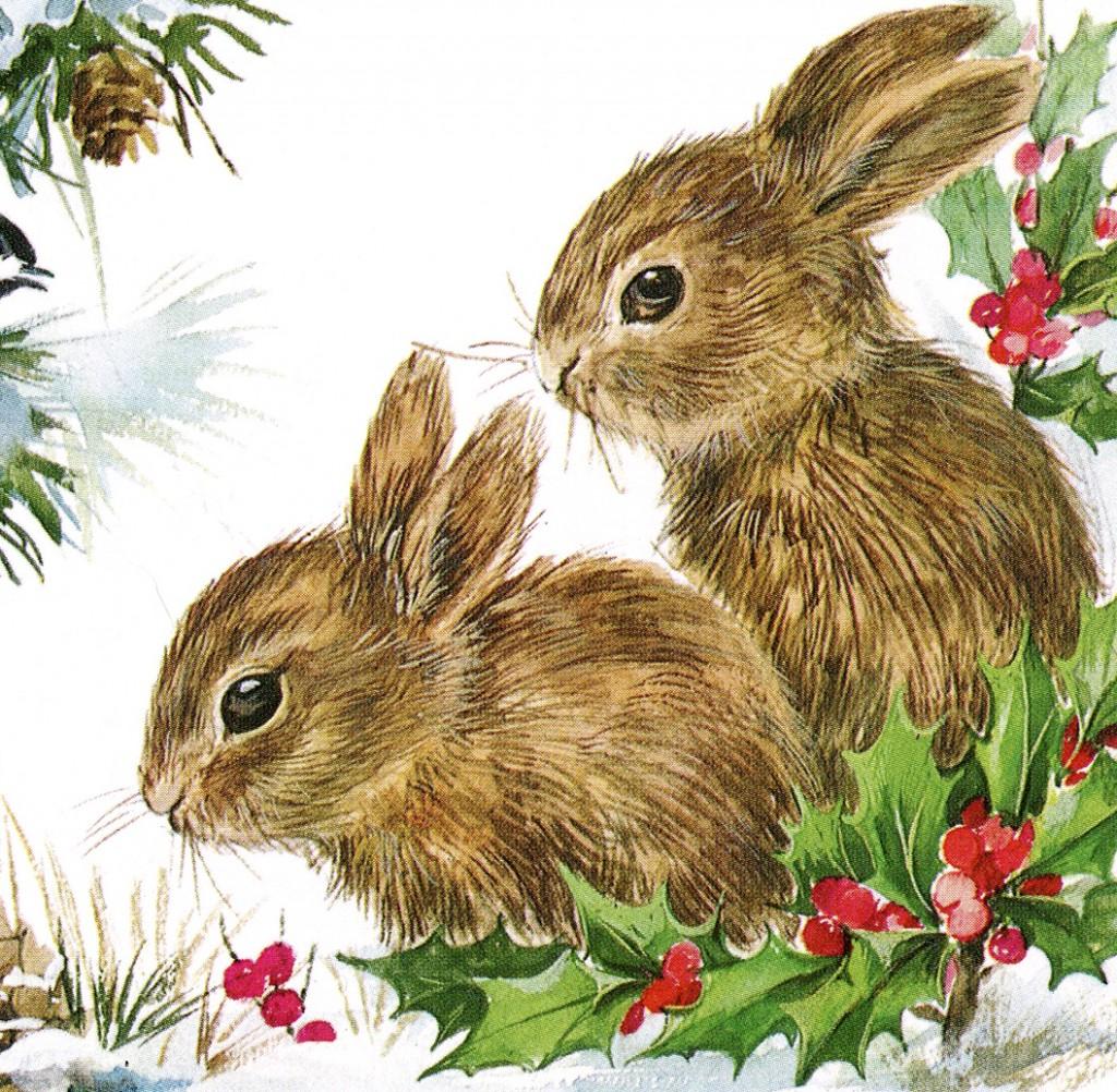 Christmas Bunnies Vintage Graphicsfairy Thumb