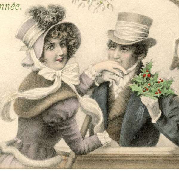 Mistletoe Couple - Graphics Fairy